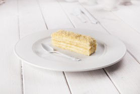 Classic light puff-pastry cake with mild cream layers